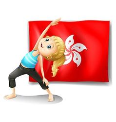 The flag of Hongkong at the back of a young girl vector image vector image