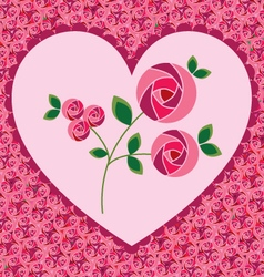 valentine heart on roses vector image