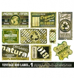 vintage bio labels collection set vector image vector image