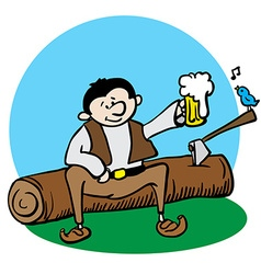 Woodcutter resting vector
