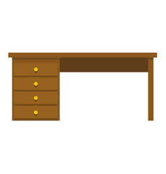 Wooden office desk icon isolated vector