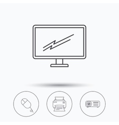 Monitor printer and projector icons vector image