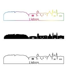 Lisbon V2 skyline linear style with rainbow vector image