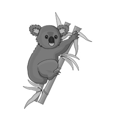 Australian koala icon in monochrome style isolated vector