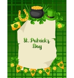 Saint patricks day poster flag pot of gold coins vector