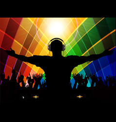 Dj and crowd silhouette on multicoloured vector