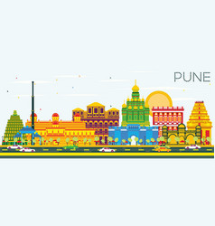 Pune skyline with color buildings and blue sky vector