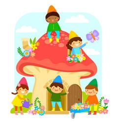 Dwarfs in mushroom house vector