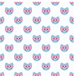 Seamless pattern with cute blue cats and glasses vector