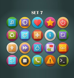 Round bright icons with long shadow set 7 vector