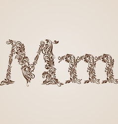 Decorated letter m vector