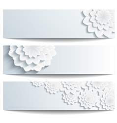 Set of decorative banners with 3d chrysanthemum vector