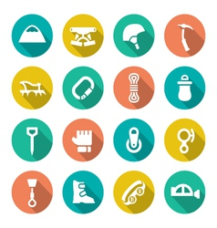 Set flat icons of mountaineering vector