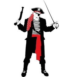 Angry pirate silhouette vector image