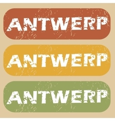 Vintage antwerp stamp set vector