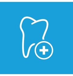 Add tooth icon white vector