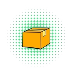 Closed cardboard box taped up icon comics style vector