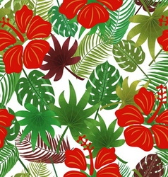 Tropical leaves pattern vector