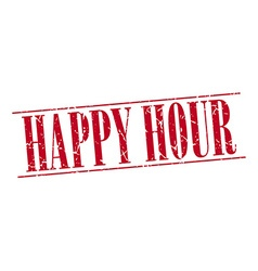 Happy hour red grunge vintage stamp isolated on vector