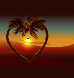 Night tropical island Two palm tree in shape of vector image