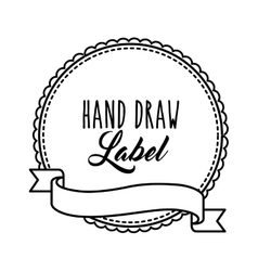 Seal stamp with ribbon icon hand draw label vector