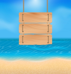 Blank wooden sign on beach natural seascape vector image vector image
