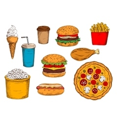 Burger menu sketch symbol with desserts and drinks vector