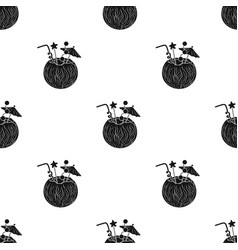 Coconut cocktail icon in black style isolated on vector