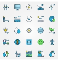 Colorful alternative energy icons vector image vector image