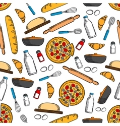 Cooking and kitchen utensils seamless background vector