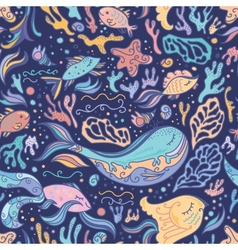 Cute blue pattern with sea animals vector image vector image