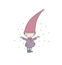 cute little gnome elf and rain isolated objects vector image vector image