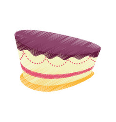 Drawing cake pastry icon vector