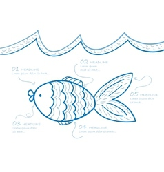 Fish drawing vector image