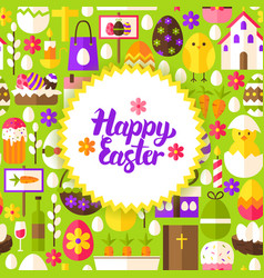 Flat happy easter postcard vector