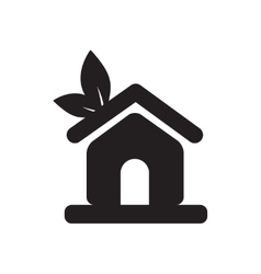 Flat icon in black and white eco-house vector