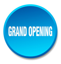 Grand opening blue round flat isolated push button vector