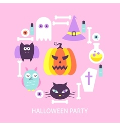 Halloween party trendy poster vector