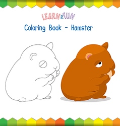 Hamster coloring book educational game vector image vector image