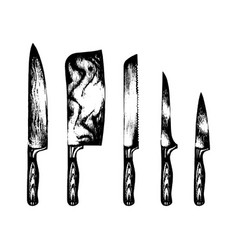 Hand drawn kitchenchefs knives set vector