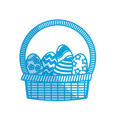 Happy easter basket egg decoration image vector
