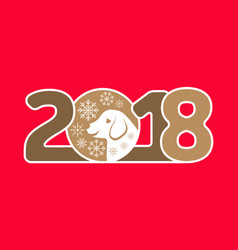 Happy new year 2018 card with dog vector