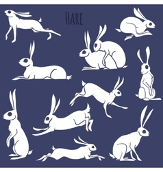 Hare silhouette set isolated on white background vector image