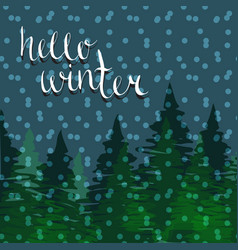Hello winter background christmas night pine vector
