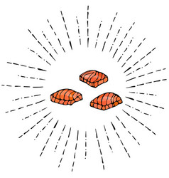 image steak of red fish salmon in sun rays vector image vector image