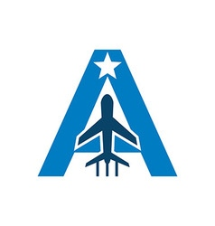 Logo airplane lettering a star symbol icon vector