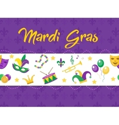 Mardi Gras poster with mask beads trumpet drum vector image vector image