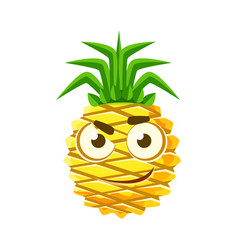 Pensive pineapple face cute cartoon emoji vector