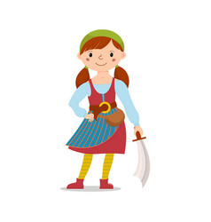 pirate girl holding sword cutlass vector image