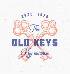 retro print effect old keys sign abstract vector image vector image